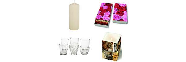 Kerzen - Gläser - Streichhölzer