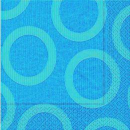 P+ D Serviette, circle aqua, 3 lagig, 33x33cm, 1/4 Falz