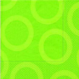 P+ D Serviette, circle kiwi, 3 lagig, 33x33cm, 1/4 Falz