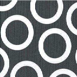 P+ D Serviette, circle black, 3 lagig, 33x33cm, 1/4 Falz