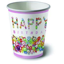 Pappbecher, Sweet Birthday, 200ml, 10 Stück