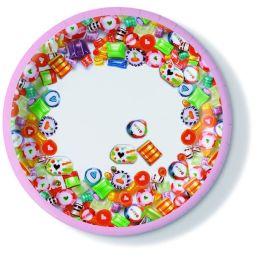 Pappteller, Sweet Birthday, 23cm, 350g/qm, 10 Stück