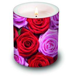 Dekorkerze Pink & Red Roses, rund 10,5x12cm, in Folie verpackt, 1 Stück