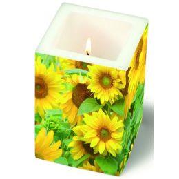 Dekorkerze Field of Sunflowers, eckig 8x8x12cm, in Folie verpackt, 1 Stück