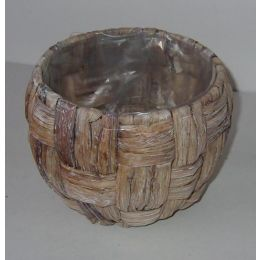 Pflanzkübel aus Wasserhyacinthe, rund, weiß gewaschen, 16cm, 1 Stück