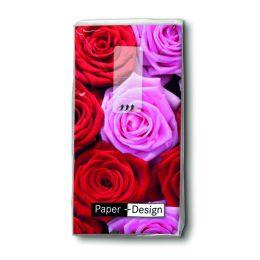 Taschentücher Pink & red roses, 4-lagig, Tissue, 22x21cm, 10 Stück
