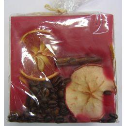 Dekorkerze eckig 10x10x10cm  Früchtewürfel dunkelrot, 1 Stück