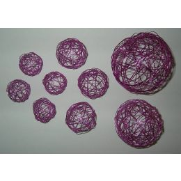 Draht - Dekokugel Set sortiert, pink, 9 Stück