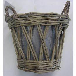 Korb Übertopf mit Zinkeinsatz, 16,5 x 13cm, 1 Stück
