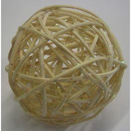 Rattanball , 7,5cm, Glitter creme, 1 Stück