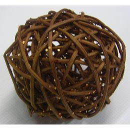 Rattanball , 7,5cm, Glitter braun, 1 Stück