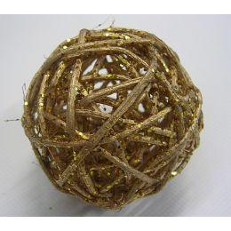 Rattanball , 7,5cm, Glitter gold, 1 Stück