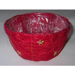 Weihnachtsschale rund, roter Sisal, mit PVC einsatz, 13x7cm, 1 Stück
