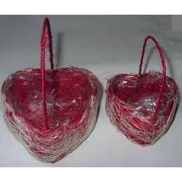 Minikorbsatz roter Sisal, Herzform, mit PVC einsatz, 2 Teile d=8 + 11cm, 1 Stück