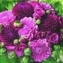 P+ D Serviette, Violet Bouquet, 3 lagig, 33x33cm, 1/4 Falz