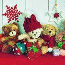 P+ D Serviette, Christmas teddies, 3 lagig, 33x33cm, 1/4...