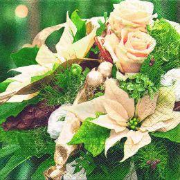 P+ D Serviette, Christmas bouquet, 3 lagig, 33x33cm, 1/4 Falz