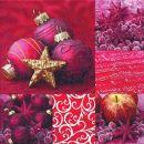 P+ D Serviette, Festive collage, 3 lagig, 33x33cm, 1/4 Falz
