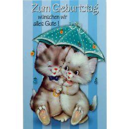 Geburtstagskarte Kätzchen unterm Schirm,1 Stück