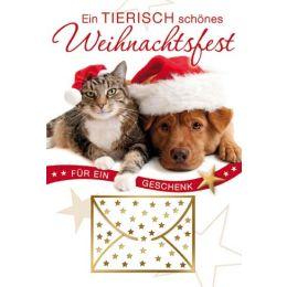 Weihnachtskarte Hund und Katze, 1 Stück