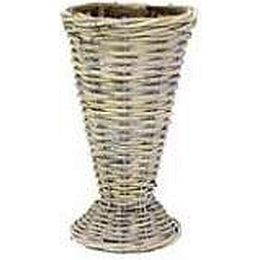Vase Rattan grau d= 17cm h= 23cm, 1 Stück
