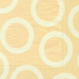 P+ D Serviette, circle creme, 3 lagig, 33x33cm, 1/4 Falz