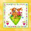 P+ D Serviette, Happy rabbits, 3 lagig, 33x33cm, 1/4 Falz