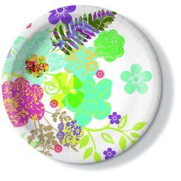 Pappteller, Hippie flowers, 23cm, 350g/qm, 10 Stück