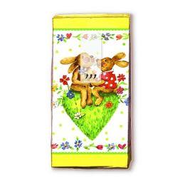 Taschentücher Happy Rabbits, 4-lagig, Tissue, 22x21cm, 10 Stück