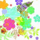 P+ D Serviette, Hippie flowers , 3 lagig, 33x33cm, 1/4 Falz
