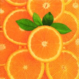 P+ D Serviette, Fresh orange, 3 lagig, 33x33cm, 1/4 Falz