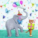 P+ D Serviette, Party animals, 3 lagig, 33x33cm, 1/4 Falz
