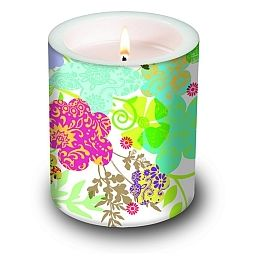 Dekorkerze Hippie Flowers, rund 10,5x12cm, in Folie verpackt, 1 Stück