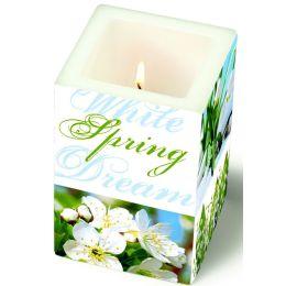 Dekorkerze White Spring Dreams, eckig 8x8x12cm, in Folie verpackt, 1 Stück