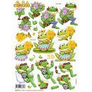 Le Suh Stanzbogen A4 Happy Frosch, 1 Stück