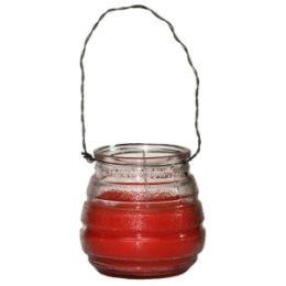 Kerze im Glas orange d=5,8cm h=7,3cm mit Draht zum Hängen