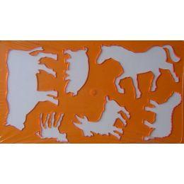 Tierschablone orange+ 20 Blatt Zeichenkarton ca.12x21cm,1 Stück