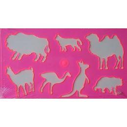 Tierschablone rosa+ 20 Blatt Zeichenkarton ca.12x21cm,1 Stück