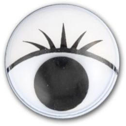 Wackelaugen mit Wimpern d=12mm rund, 10 Stück