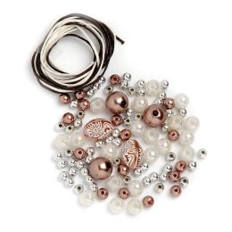 Perlen Set braun weiß silber, 1 Stück