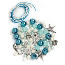 Perlen Set weiß silber türkis, 1 Stück