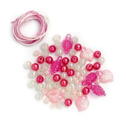 Perlen Set weiß rosa pink, 1 Stück