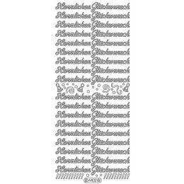 """Sticker Aufkleber """"Herzlichen Glückwunsch"""" 10x23cm, 1 Stück silber"""