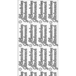 """Sticker Aufkleber große """"Herzliche Glückwünsche"""" 10x23cm, 1 Stück silber"""