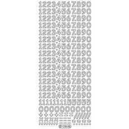 Sticker Aufkleber Ziffern 10x23cm, 1 Stück  silber