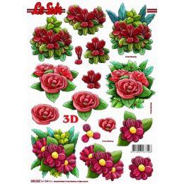 Le Suh Stanzbogen A4 Blumen mix 3, 1 Stück