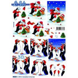 Le Suh Stanzbogen A4 Weihnachtspinguine, 1 Stück