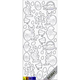Sticker Aufkleber Oster Figuren 10x23cm, 1 Stück violett