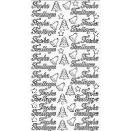 """Sticker Aufkleber """"Frohe Festtage"""" + Baum 10x23cm, 1 Stück silber"""