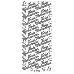"""Sticker Aufkleber """"Frohe Weihnachten"""" 10x23cm, 1 Stück silber"""